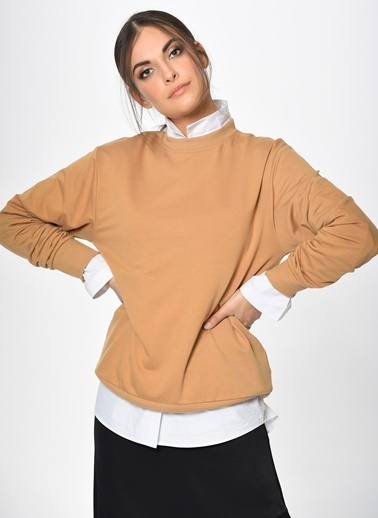 Loves You Bisiklet Yaka Loose Fit Mevsimlik Sweatshirt Camel